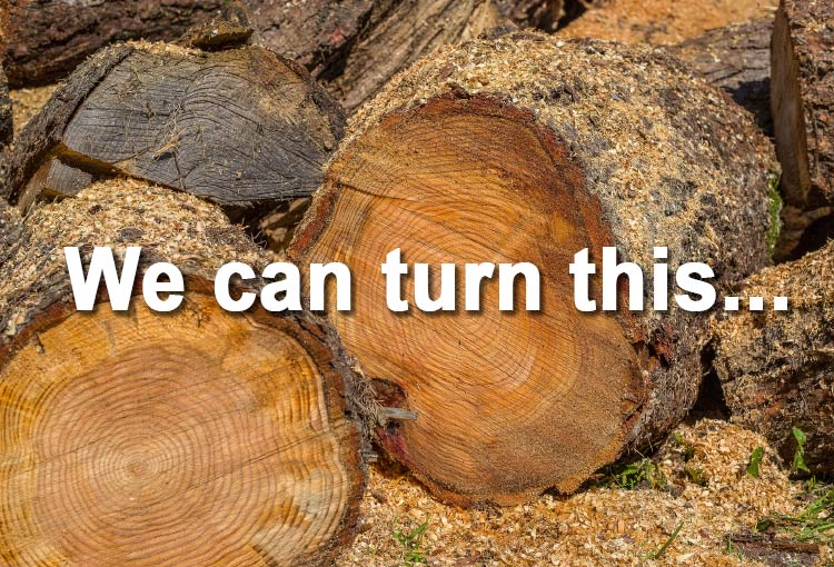 wood rounds splitting